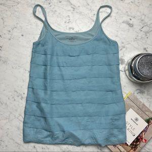 New York & Company Blue Ruffle Sleeveless Tank Top